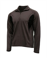 Men's Contrast 1/4 Zip Merino - Taupe/Black